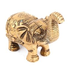 Brass Elephant Trunk Upwards With Fine Engravings