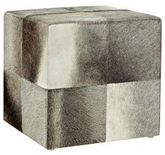 SWHF Square Leather Pouf: Grey