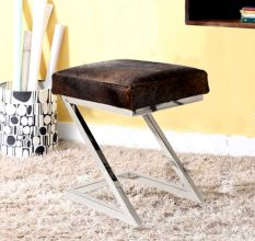 SWHF Hair On Leather Stool With Stainless Steel Legs