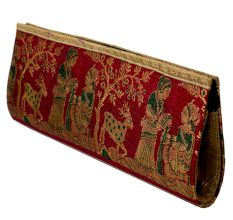 Blue Mythological Weave Pure Silk Baluchari Clutch Bag