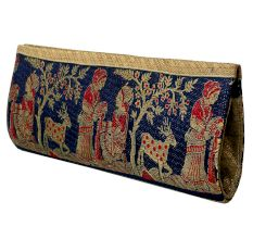 Navy Blue Mythological Weave Pure Silk Baluchari Clutch Bag