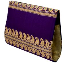 Violet Baluchari Pure Silk Clutch Bag