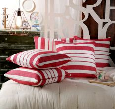 SWHF Cushion Cover: Red Stripes, Set of 5