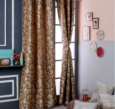 Turkish Bath Premium Jacquard Door Curtain Set of 2: Floral