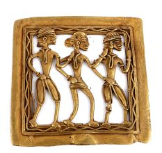 Bronze Dhokra Wall Hanging With Dancing Tribal People