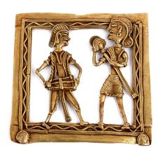 Bronze Hanging Wall Art Tribal People Playing Intruments