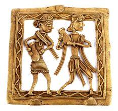 Bronze Dhokra Wall Art Hanging 2 People Carrying Pots