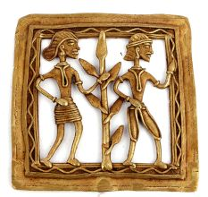 Bronze Dhokra Wall Art Hanging 2 People And A Tree Between Them