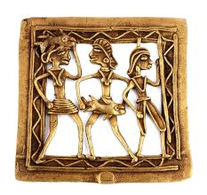 Bronze Dhokra Wall Hanging Tribal Hunters Hunting Fishes
