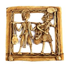 Bronze Dhokra Art Wall Hanging A Man Carrying 2 Pots With Stick And Rope  And A Woman Carrying A Pot On Her Head