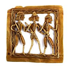 Bronze Dhokra Art Wall Hanging 2 Tribal Men With A Woman In The Centre