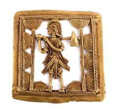 Bronze Dhokra Wall Art Hanging Tribal Man Holding An Axe In His Hand