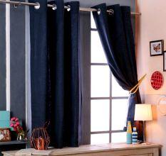 SWHF Premium Cotton Blackout Curtain Set Of 2 (117X137): Teal Blue
