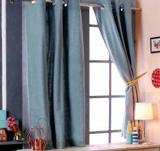 SWHF Premium Cotton Blackout Curtain Set Of 2 (117X137): Green
