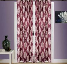 SWHF  Printed Curtains, Set of 2: Floral Red And Beige