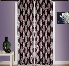 SWHF  Printed Curtains, Set of 2: Floral Brown And Beige