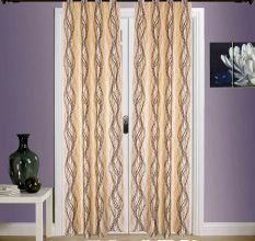 SWHF  Printed Curtains, Set of 2: Spiral Brown And Gold