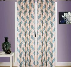 SWHF  Printed Curtains, Set of 2: Leaf Dark Green And White