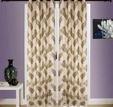 SWHF  Printed Curtains, Set of 2: Leaf Green And Gold