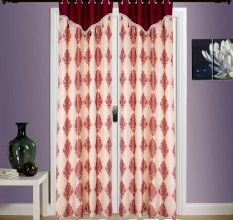 SWHF  Printed Curtains, Set of 2: Paisley Red And Gold