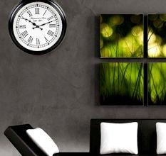 SWHF Vintage Roman Black Round Wall Clock: 14 Inches Dia