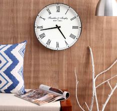 SWHF Large Vintage Roman Chrome Round Wall Clock: 16 Inches Dia