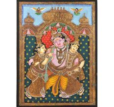 Krishna With Bama and Rukmini Tanjore Painting in Frame