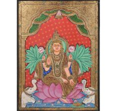 Lotus Lakshmi Tanjore Paintings With Frame