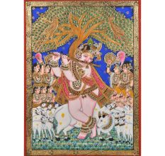 Murali Krishna Tanjore Painting With Frame