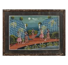 Krishna Teasing Gopis Miniature Painting With Frame