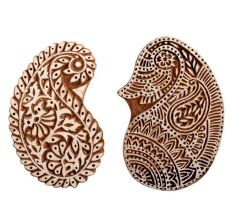 Set of 2 Piece New Mix Wooden Printing Block