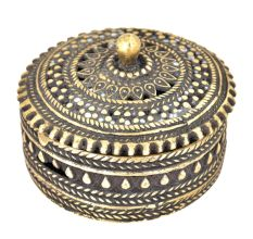 Bronze Jali Design Circular Storage Box