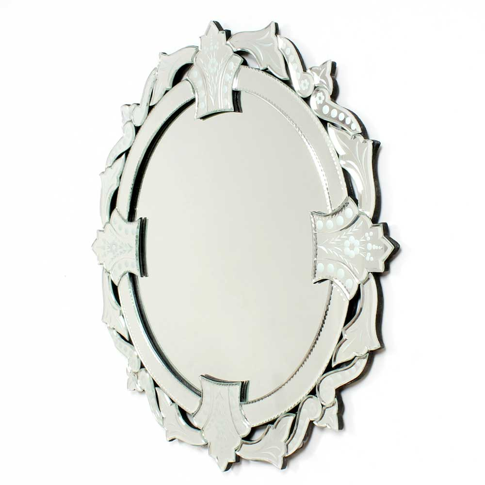 Venetian Round Wall Mirror in Cut & Etched Glass Mirror Frame