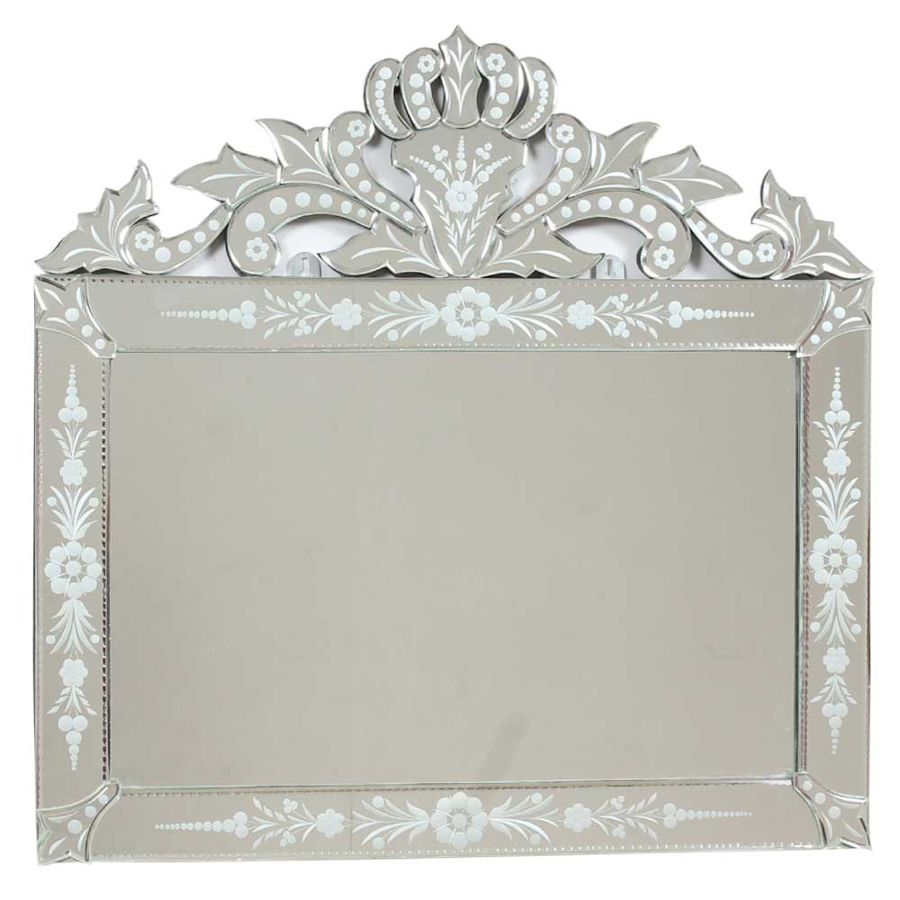 Rectangle Traditional Cut Glass and Etched Wall Mirror