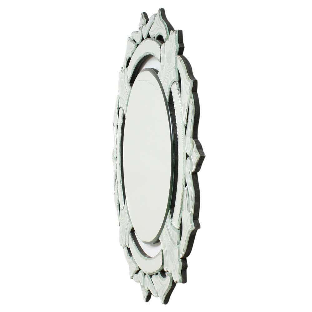 Engraved Border Round Venetien Mirror