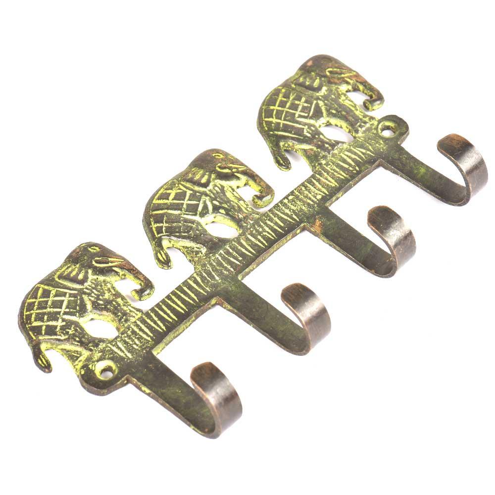 Bronze Triple Elephant Wall Hooks