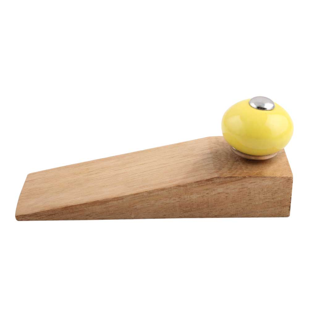Yellow Round Ceramic Wooden Door Stopper