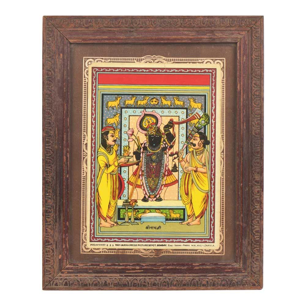 Hand Print Framed Shrinathji Painting Nathwadara