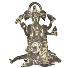 Bronze Vintage Finishing Ganesha Sitting On Seated Mushak Figurine
