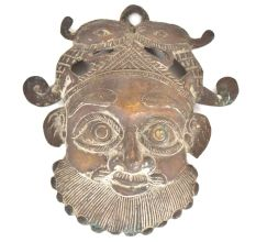 Bronze Man Face Mask Wall Hanging