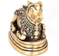 Carved Brass Nandi Statue