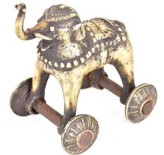 Brass Elephant Temple Toy With Wheels