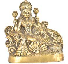 Brass Relaxing Gold Coins Laxmi Statue