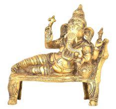 Relaxing Ganesha Brass Statue