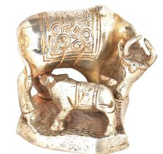 Brass Silver Plated Cow Feeding Her Calf