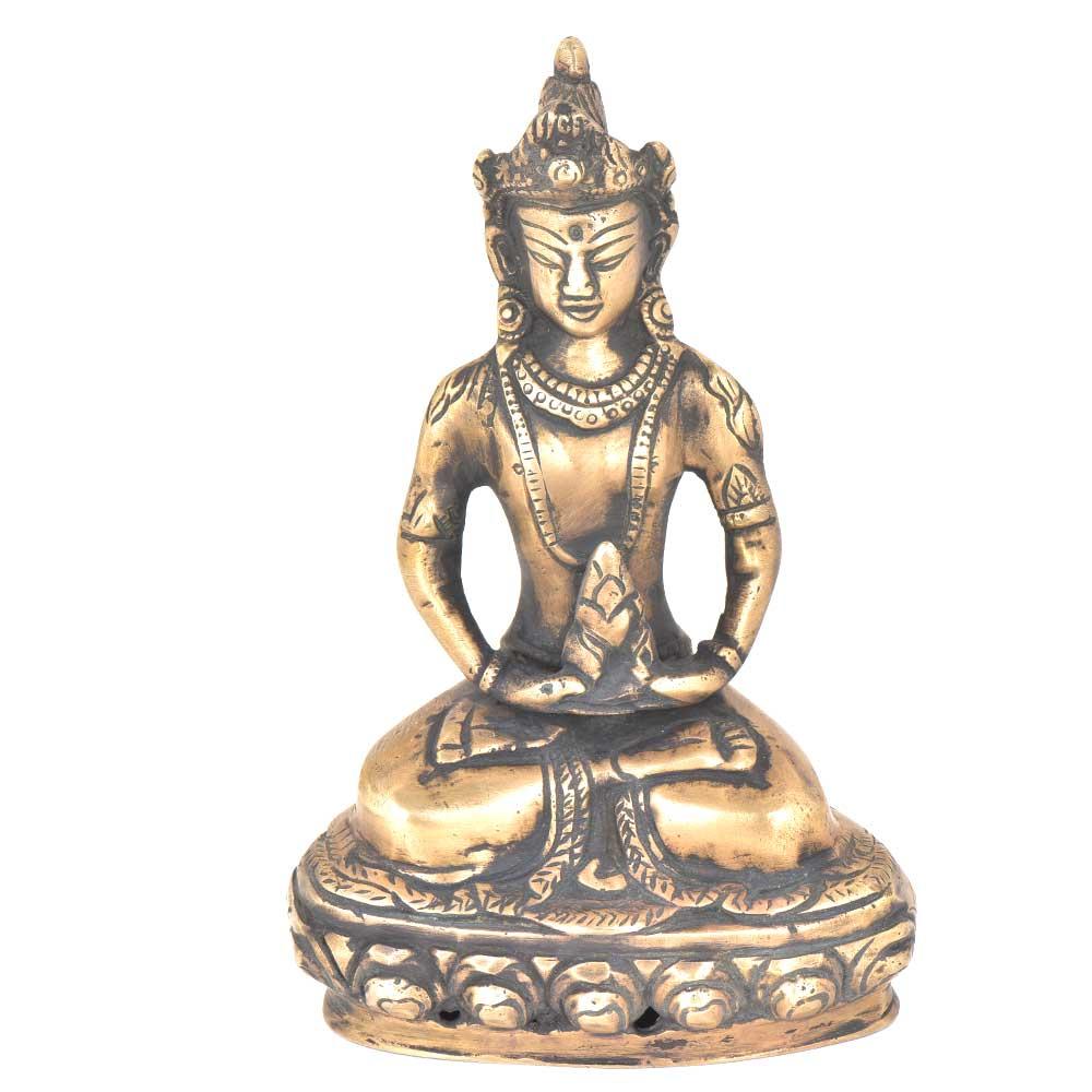 Brass Buddha Statue Deity Seated