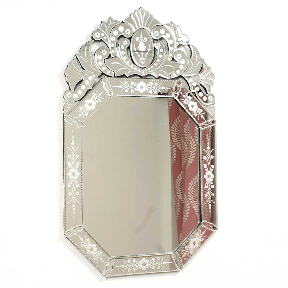 Octagonal Venetian Wall Mirror with Etched Glass Frame