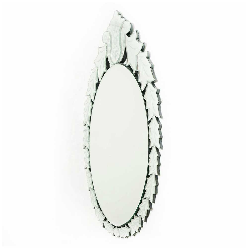 Oval Leafy Design Decorative Mirror