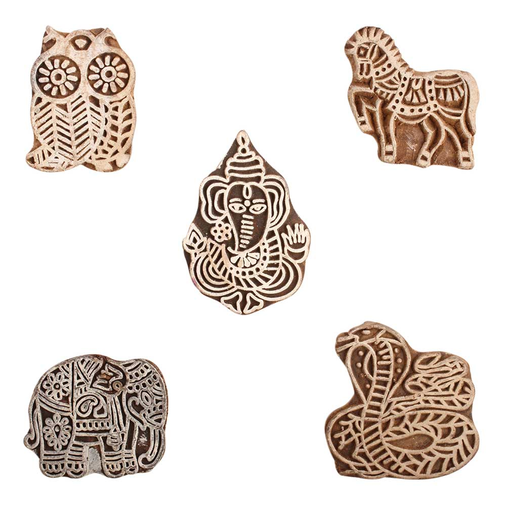 Set of 5 Fancy Pattern Animal and Bird Wood Print Blocks