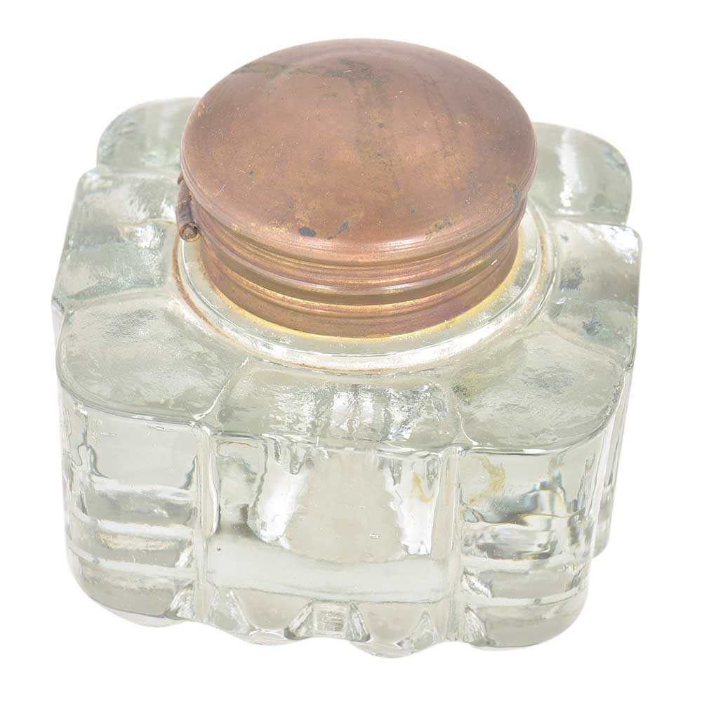 Clear Glass Rectangular Ink Pot